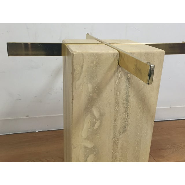 Modern Travertine & Brass End Table - Image 4 of 5