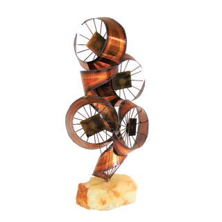 Mid Century Brutalist Copper Sculpture on Onyx Base For Sale