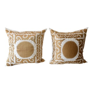 Gold Suzani Embroidered Pillow Covers - a Pair For Sale