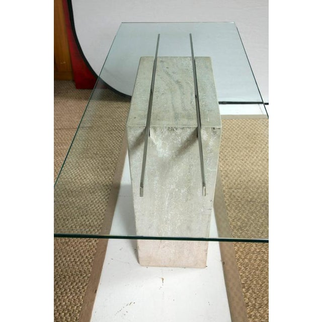 Travertine and Chrome Console Table by Ello Furniture - Image 8 of 8