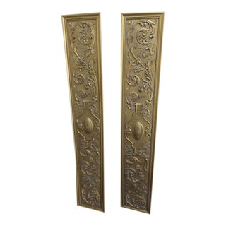Vintage Maitland-Smith Style Gold Decorative Wall Panels - a Pair For Sale