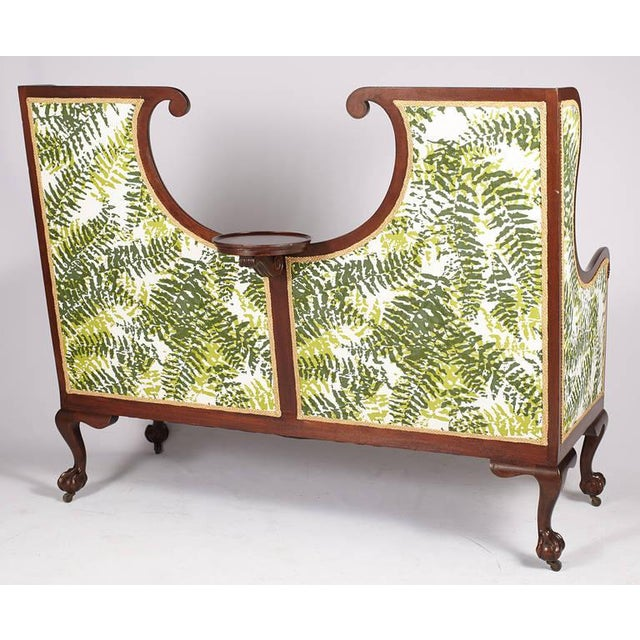 Large English Edwardian settee newly reupholstered in a custom Tillett fern print with ball and claw feet. Extremely Rare!...