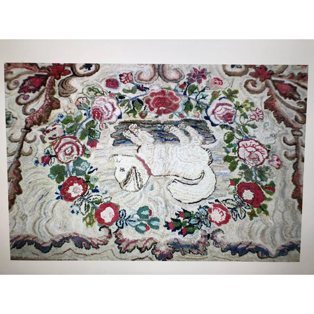 Folk Art Hooked Rug Room Size With King Charles Spaniels Playing Circa 1860 For Sale - Image 3 of 6