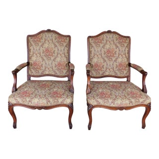 Quality Vintage French Louis XV Style Fireside Accent Arm Chairs - a Pair For Sale