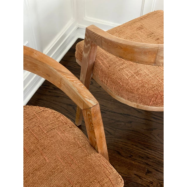Brown Mid Century Modern Cerused Oak Sculptural French Chairs - a Pair For Sale - Image 8 of 11