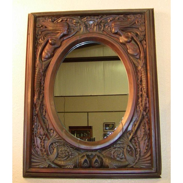 Late 19th Century 19c American Dark Walnut Wall Mirror With Mermaids - Important For Sale - Image 5 of 12