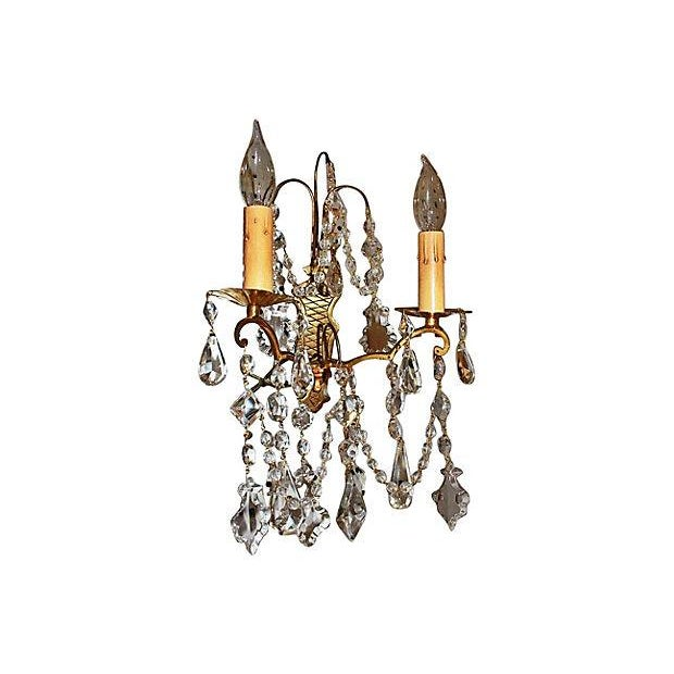 Antique Crystal French Bronze Sconces - A Pair - Image 3 of 6