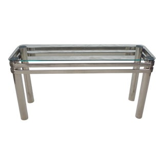 Modern Chrome Rectangle Console Sofa Table With Glass Top Style of Pace or Karl Springer For Sale