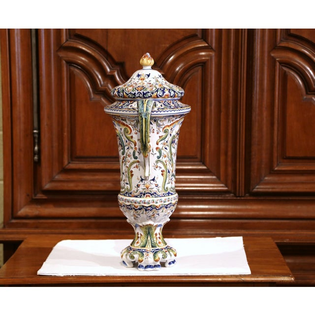 19th Century French Hand Painted Ceramic Vase With Lid From Normandy For Sale - Image 4 of 12