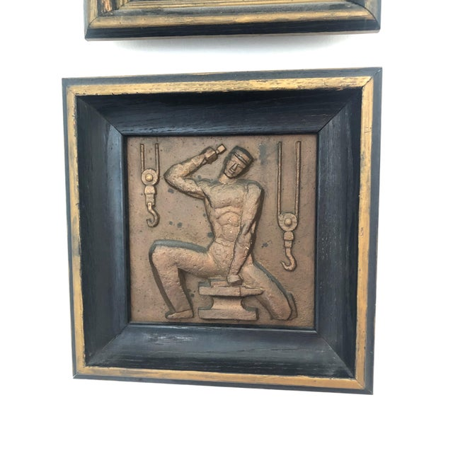 Art Deco 1940s Bronze Wpa Plaques - Set of 6 For Sale - Image 3 of 12