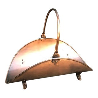 Copper Footed Firewood Holder For Sale