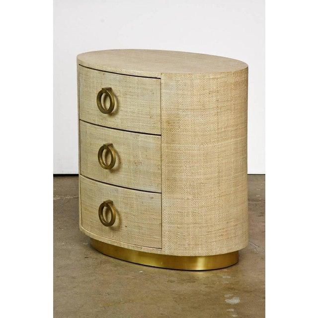 Raffia Grasscloth Clad Oval Three-Drawer Dresser Nightstand - Image 2 of 11