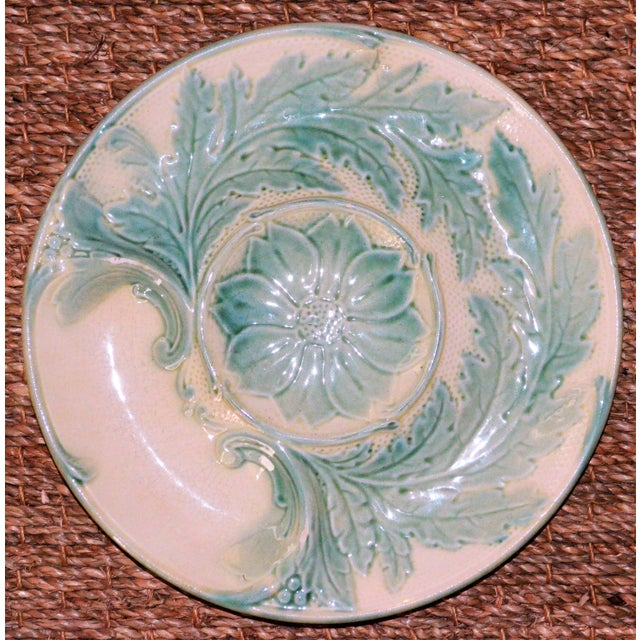 Boho Chic Antique French Majolica Artichoke Plate, Gien For Sale - Image 3 of 5