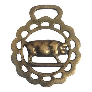 Vintage Brass Pig Harness Ornament