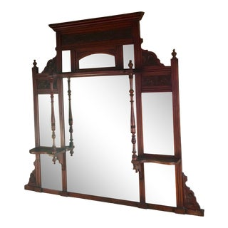 Antique Victorian Wooden Mirror For Sale