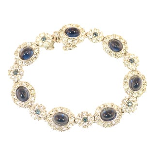 Ciner Sapphire Art Glass Rhodium Link Bracelet, 1950s For Sale