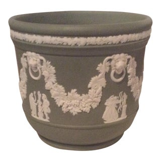 Green & White Wedgwood Cache Pot