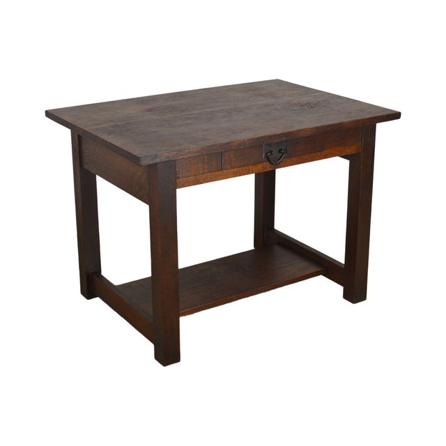Mission Oak Antique One Drawer Table Writing Desk Possibly Stickley For Sale - Image 13 of 13