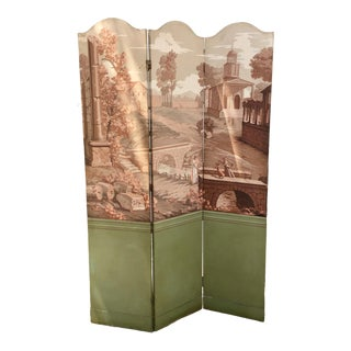 French Style Classical Folding Painted Floor Screen For Sale
