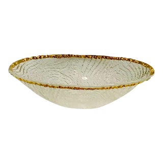Annieglass Wood Grained Crystal Bowl For Sale