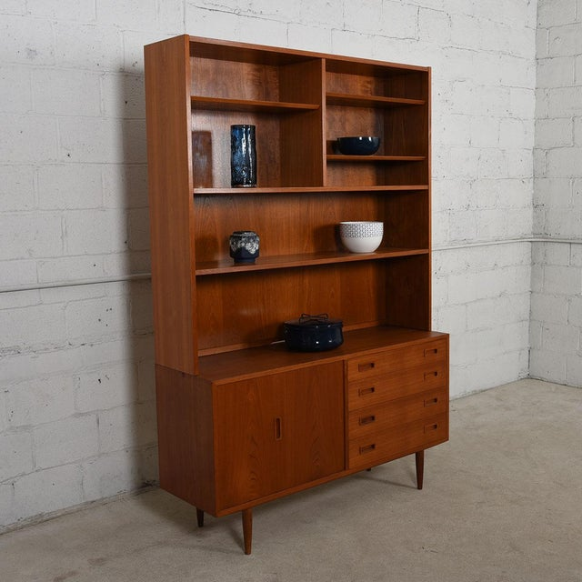 2-Piece Danish Teak Bookcase & Cabinet with Drawers and Bi-Fold Door - Image 3 of 7