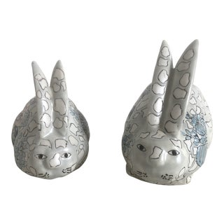 Chinoiserie Lotus Pattern Long Eared Bunny Figurines - a Pair For Sale