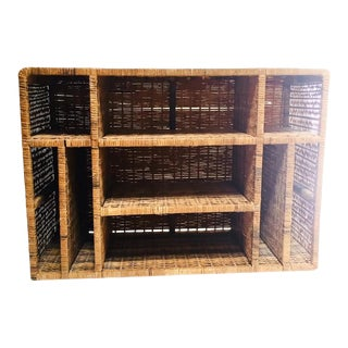 Vintage Rattan Bookcase/Media Record Stand For Sale
