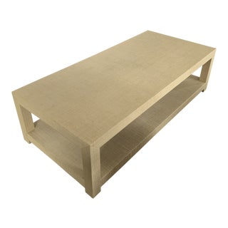 Contemporary Serena and Lily Blake Raffia Rectangular Coffee Table For Sale