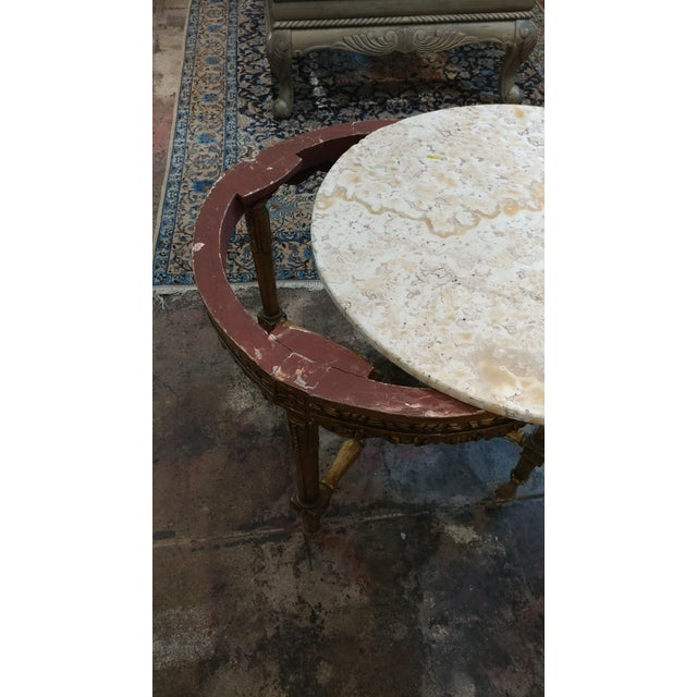 Giltwood 19th Century Louis XV Carved Gilt & Marble Top Coffee Table For Sale - Image 7 of 8