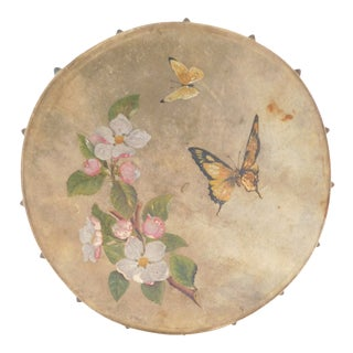 Antique Hand-Painted Tambourine Dated 1885 For Sale