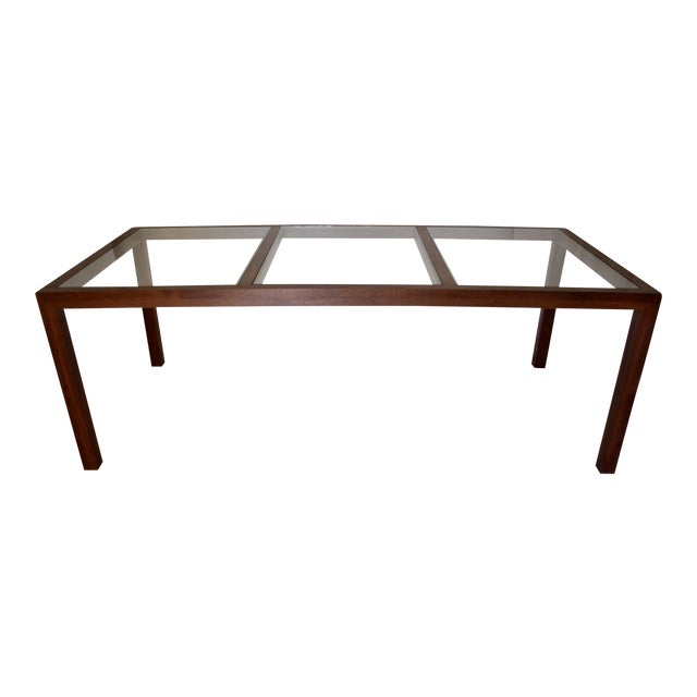 "84"" Walnut & Brass Parsons Dining Table For Sale"