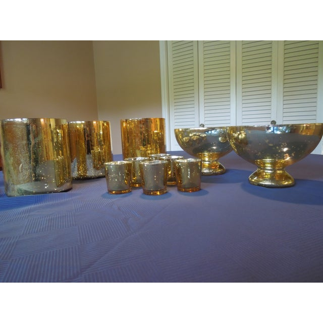 Gold Mercury Glass Vases & Votives - Image 2 of 5
