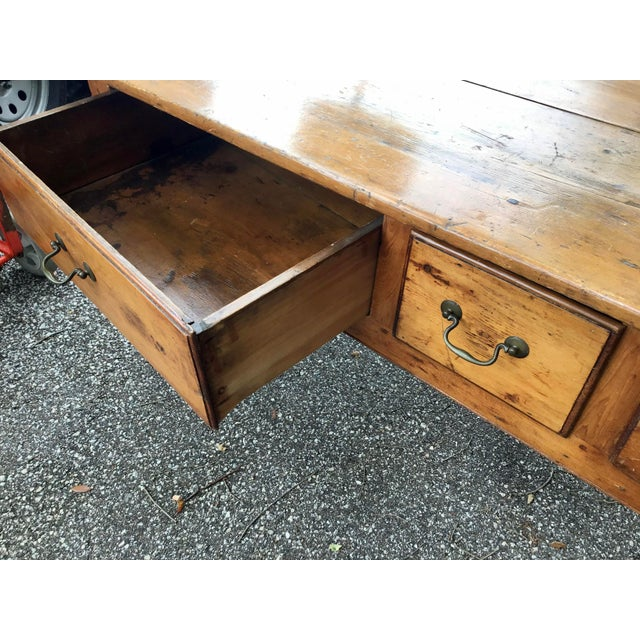 Wood Vintage French Farmhouse Table With Three Drawers For Sale - Image 7 of 10