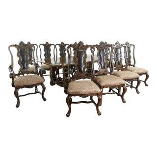 Vintage Italian Baroque Style Bernhardt Furniture Dining Set - 11 Pieces For Sale