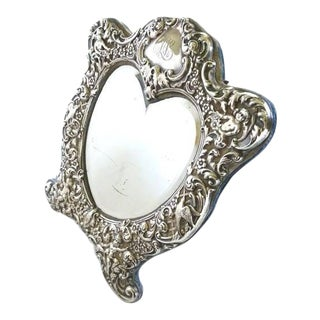 Antique Black Starr & Frost Heart Shaped Sterling Silver Dressing Mirror Easel Back For Sale