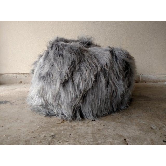 Moon Gray Sheepskin Bean Bag Chair - Image 2 of 7