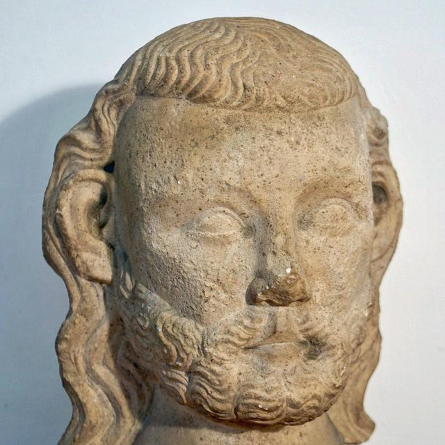Figurative Vintage Medieval Limestone Bust For Sale - Image 3 of 10