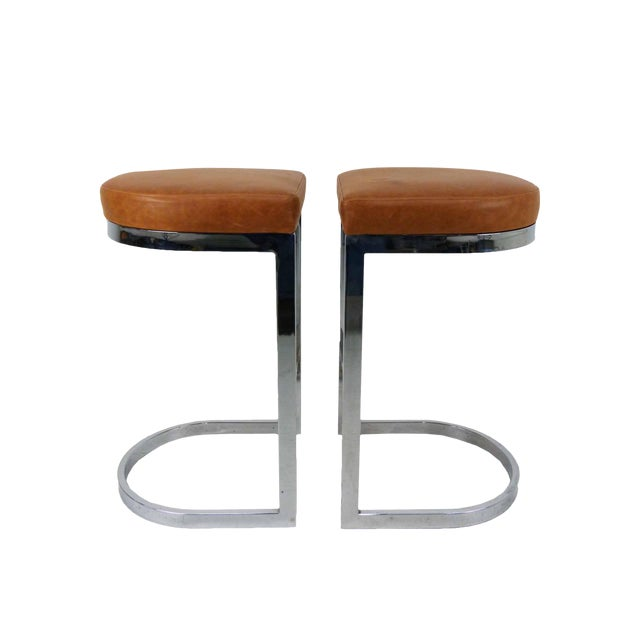 Milo Baughman Style Flat Bar Chrome Cantilever Bar Stools - A Pair - Image 1 of 10