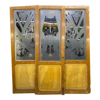Art Deco Art Nouveau Etched Glass Doors - 3 Pieces For Sale