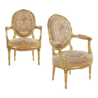 Circa 1900 French Louis XVI Style Giltwood Antique Fauteuil Arm Chairs - a Pair For Sale