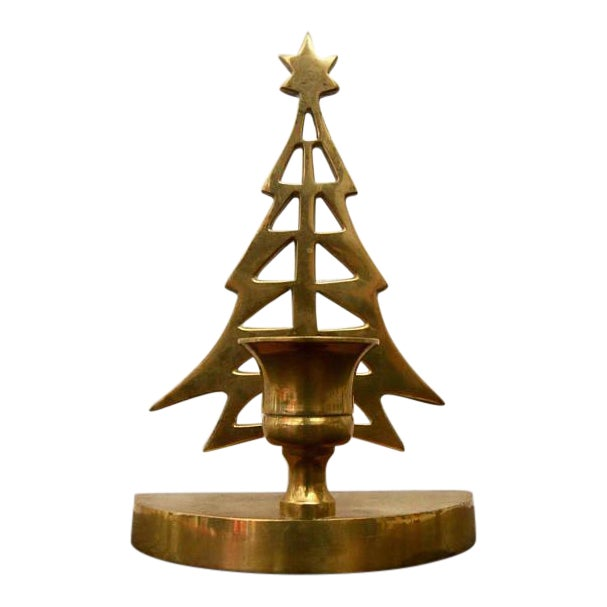 Vintage Brass Christmas Tree Taper Candle Holder - Image 1 of 4