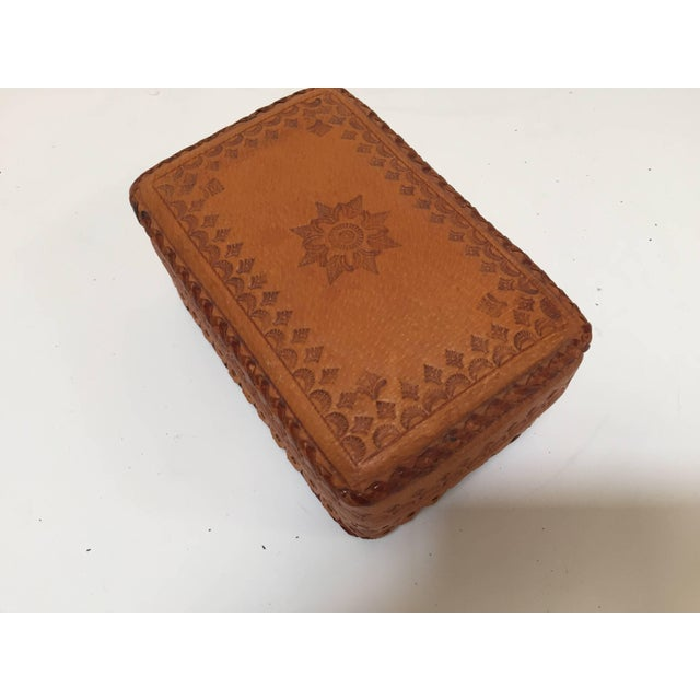 Leather Vintage Brown Box Hand Tooled in Morocco With Tribal African Designs For Sale In Los Angeles - Image 6 of 13
