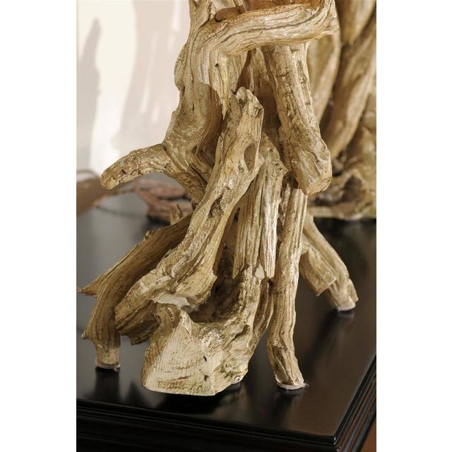 Restored Pair of Large-Scale Vintage Driftwood Lamps in Gesso For Sale In Atlanta - Image 6 of 10
