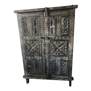 Early 20th Century Hand Carved Wood Cabinet For Sale