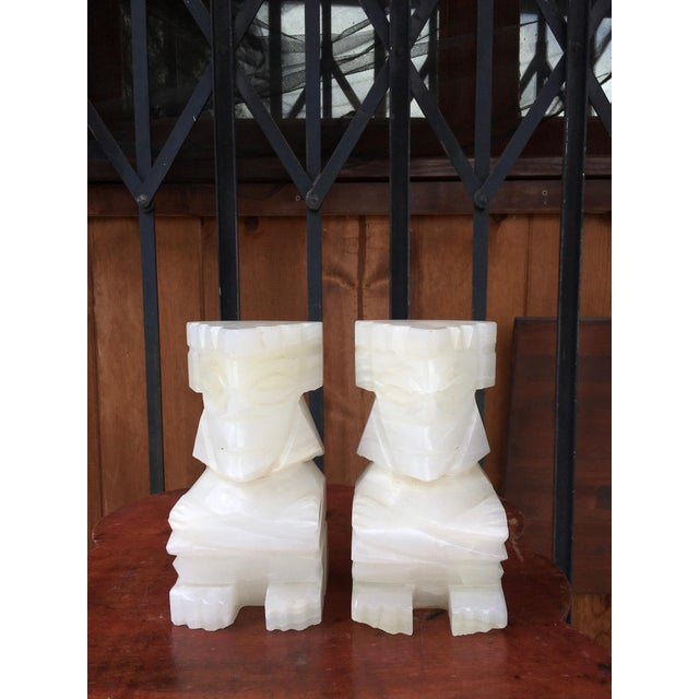 Cream Vintage Marble Aztec Bookends - a Pair For Sale - Image 8 of 9