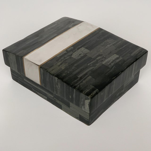 Gold Karl Springer Tessellated Stone, Chrome and Brass Box For Sale - Image 8 of 13