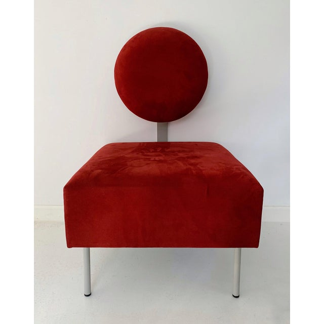 Red 1980's Vintage Andreu World Contemporary Red Square Lounge Chair For Sale - Image 8 of 8
