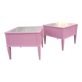Mid-Century Modern Travertine Top Pink Lacquer Side Tables/ Nightstands- a Pair Preview