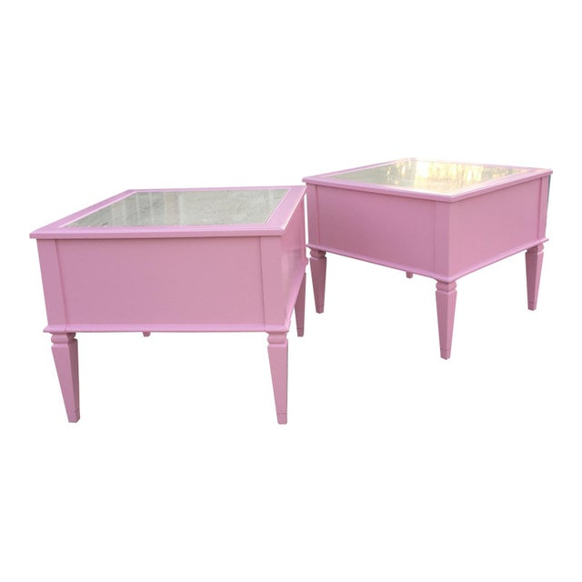 Mid century end tables with travertine marble slab inset on top. Solid wood finished in a Pink Low sheen lacquer for...