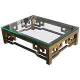 Image of Patinated Brass Low Coffee Table With Greek Key Design, Laverne Style For Sale